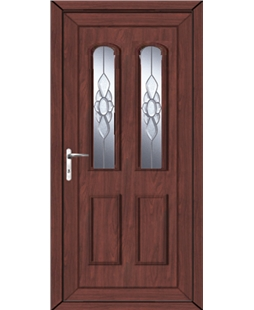 Northampton Ice Cluster uPVC High Security Door In Rosewood