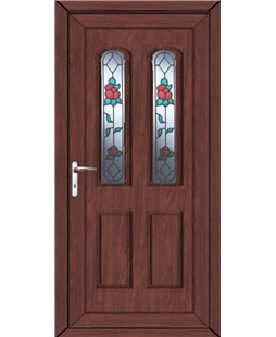Northampton Queen Anne Rose uPVC High Security Door  In Rosewood