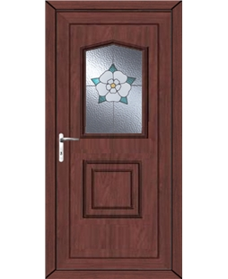 Portsmouth Yorkshire Rose uPVC Door In Rosewood