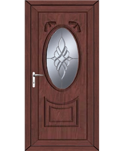 Middlesbrough Bevel Cluster uPVC High Security Door  In Rosewood