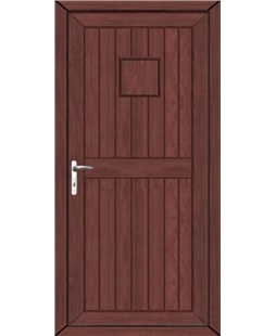 Torquay Back Door Solid uPVC High Security Door In Rosewood
