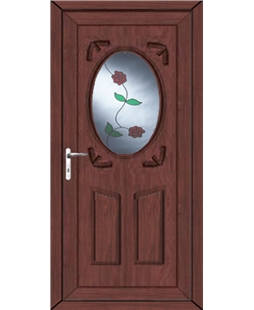 Stoke Rambling Rose uPVC High Security Door In Rosewood