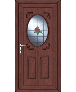 Stoke Single Rose uPVC High Security Door In Rosewood