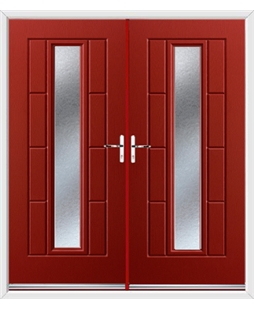 Vermont French Rockdoor in Ruby Red with Gluechip Glazing