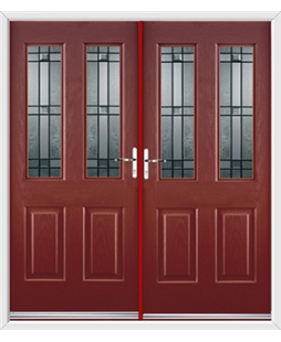 Jacobean French Rockdoor in Ruby Red with Apollo