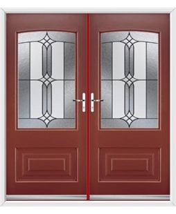 Portland French Rockdoor in Ruby Red with Apostle Glazing