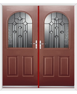 Kentucky French Rockdoor in Ruby Red with Aquarius Glazing