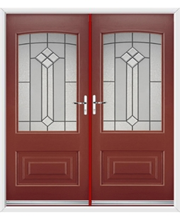 Portland French Rockdoor in Ruby Red with Beacon