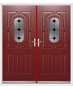 Arcacia French Rockdoor in Ruby Red with Black Diamonds