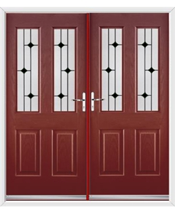 Jacobean French Rockdoor in Ruby Red with Black Diamonds