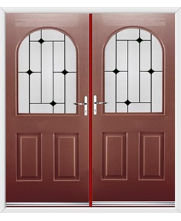 Kentucky French Rockdoor in Ruby Red with Black Diamonds