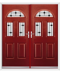 Tennessee French Rockdoor in Ruby Red with Black Diamonds