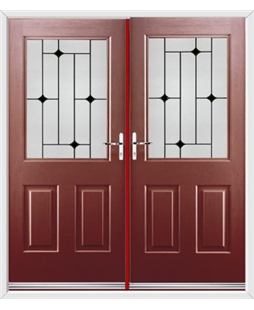 Windsor French Rockdoor in Ruby Red with Black Diamonds