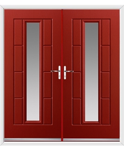 Vermont French Rockdoor in Ruby Red with Glazing