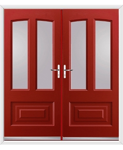 Illinois French Rockdoor in Ruby Red with Glazing