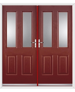 Jacobean French Rockdoor in Ruby Red with Glazing