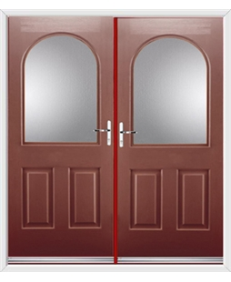 Kentucky French Rockdoor in Ruby Red with Glazing