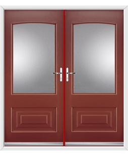 Portland French Rockdoor in Ruby Red with Glazing