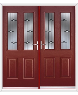 Jacobean French Rockdoor in Ruby Red with Crystal Bevel