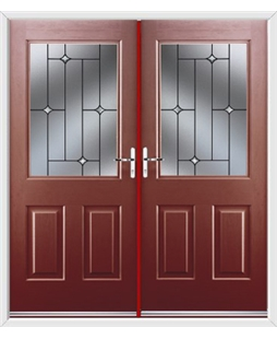 Windsor French Rockdoor in Ruby Red with Crystal Bevel