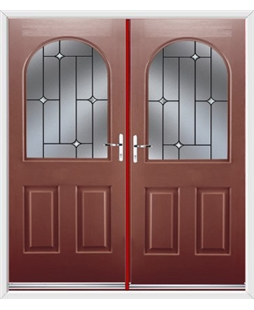 Kentucky French Rockdoor in Ruby Red with Crystal Bevel