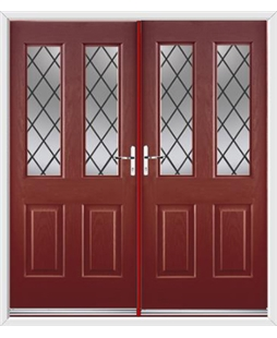 Jacobean French Rockdoor in Ruby Red with Diamond Lead