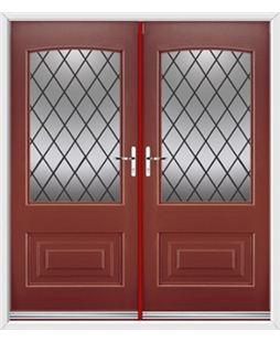 Portland French Rockdoor in Ruby Red with Diamond Lead