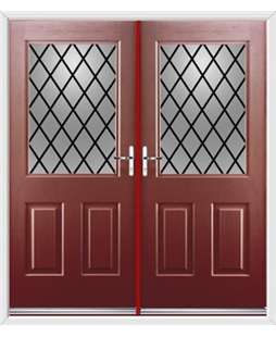 Windsor French Rockdoor in Ruby Red with Diamond Lead