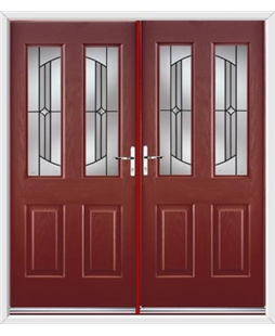 Jacobean French Rockdoor in Ruby Red with Ellipse