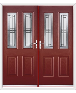 Jacobean French Rockdoor in Ruby Red with Empire