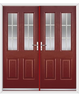 Jacobean French Rockdoor in Ruby Red with White Georgian Bar