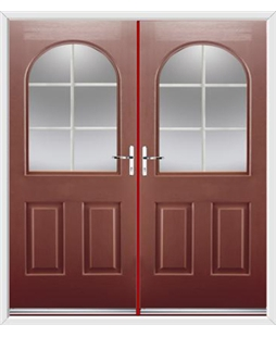 Kentucky French Rockdoor in Ruby Red with White Georgian Bar