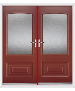 Portland French Rockdoor in Ruby Red with Gluechip Glazing
