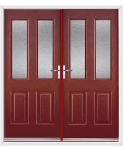 Jacobean French Rockdoor in Ruby Red with Gluechip Glazing