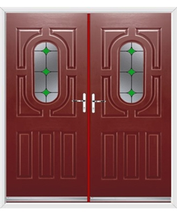 Arcacia French Rockdoor in Ruby Red with Green Diamonds