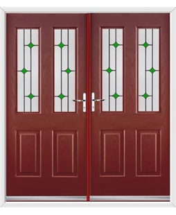 Jacobean French Rockdoor in Ruby Red with Green Diamonds