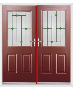 Windsor French Rockdoor in Ruby Red with Green Diamonds