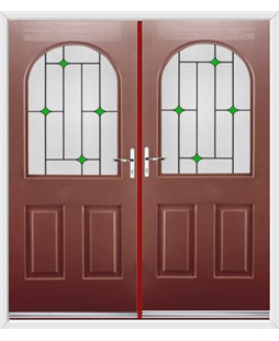 Kentucky French Rockdoor in Ruby Red with Green Diamonds
