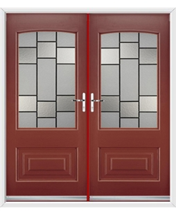 Portland French Rockdoor in Ruby Red with Horizon
