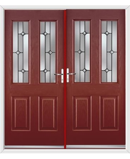 Jacobean French Rockdoor in Ruby Red with Linear