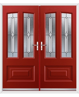 Illinois French Rockdoor in Ruby Red with Pinnacle