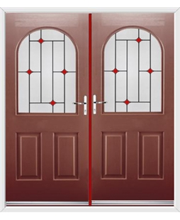 Kentucky French Rockdoor in Ruby Red with Red Diamonds