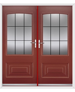 Portland French Rockdoor in Ruby Red with Square Lead