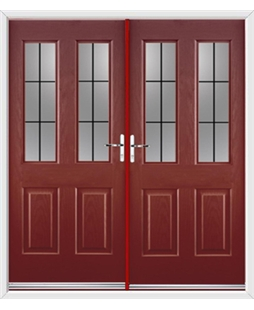 Jacobean French Rockdoor in Ruby Red with Square Lead