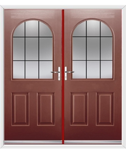 Kentucky French Rockdoor in Ruby Red with Square Lead