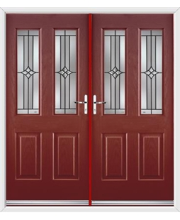 Jacobean French Rockdoor in Ruby Red with Summit