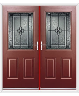 Windsor French Rockdoor in Ruby Red with Triton Glazing