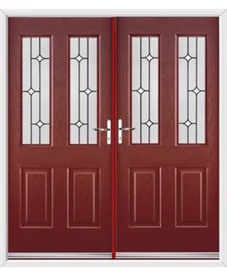 Jacobean French Rockdoor in Ruby Red with White Diamonds