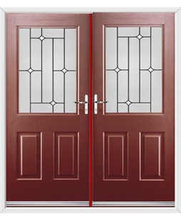 Windsor French Rockdoor in Ruby Red with White Diamonds