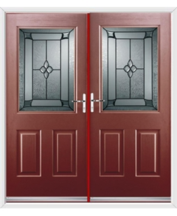 Windsor French Rockdoor in Ruby Red with Titania Glazing